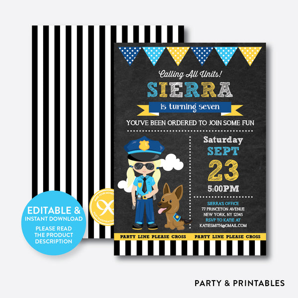 Police Chalkboard Kids Birthday Invitation / Editable / Instant Download (CKB.527B), invitation - Party and Printables