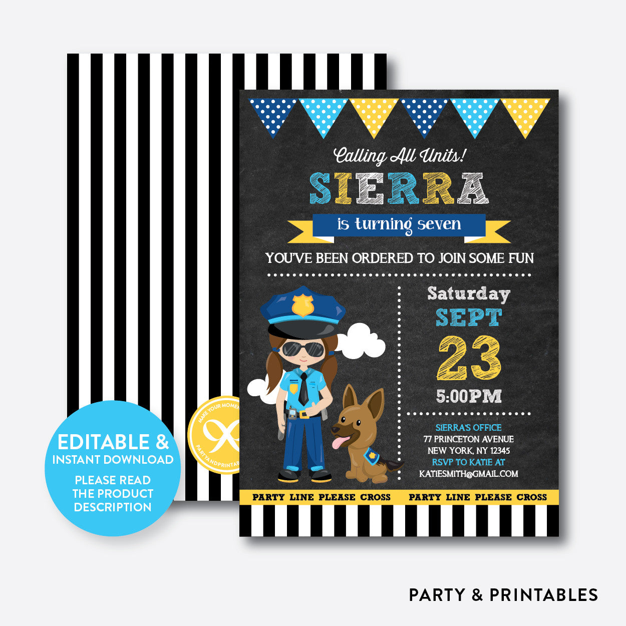Police Chalkboard Kids Birthday Invitation / Editable / Instant Download (CKB.527), invitation - Party and Printables