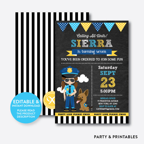Police Chalkboard Kids Birthday Invitation / Editable / Instant Download (CKB.527)