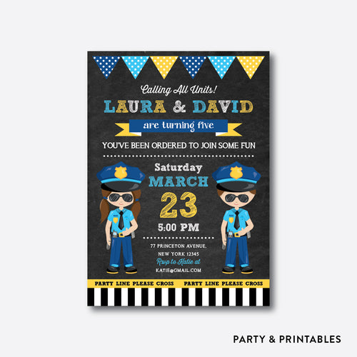 Police Chalkboard Kids Birthday Invitation / Personalized (CKB.528)