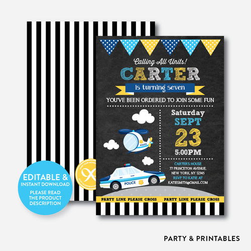 Police Units Chalkboard Kids Birthday Invitation / Editable / Instant Download (CKB.529)