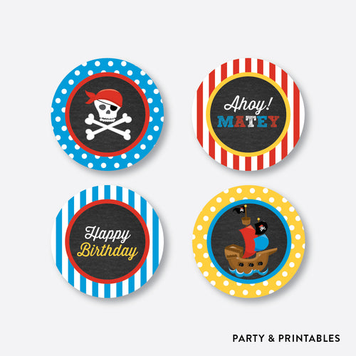 Pirate Ship Chalkboard Cupcake Toppers / Non-Personalized / Instant Download (CKB.52)
