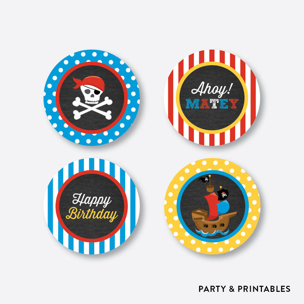 Pirate Ship Chalkboard Cupcake Toppers / Non-Personalized / Instant Download (CKB.52), party printables - Party and Printables