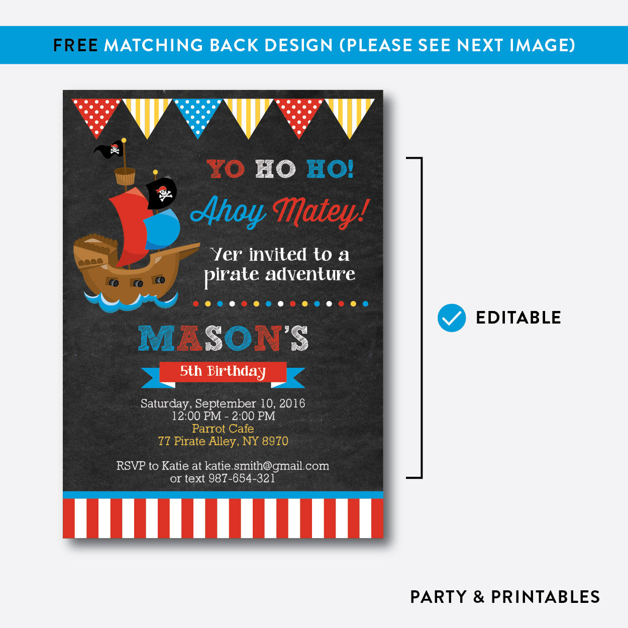 Pirate Ship Red Chalkboard Kids Birthday Invitation / Editable / Instant Download (CKB.52)