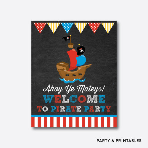 Pirate Ship Chalkboard Welcome Sign / Non-Personalized / Instant Download (CKB.52)