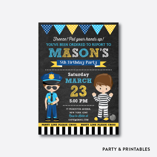 Police and Robber Chalkboard Kids Birthday Invitation / Personalized (CKB.530), invitation - Party and Printables