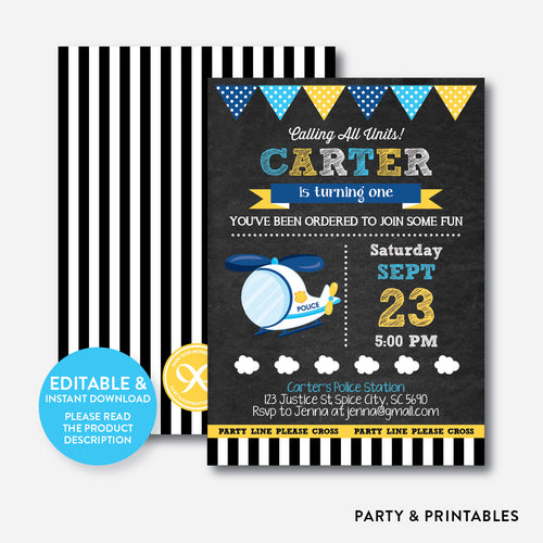 Police Helicopter Chalkboard Kids Birthday Invitation / Editable / Instant Download (CKB.532)