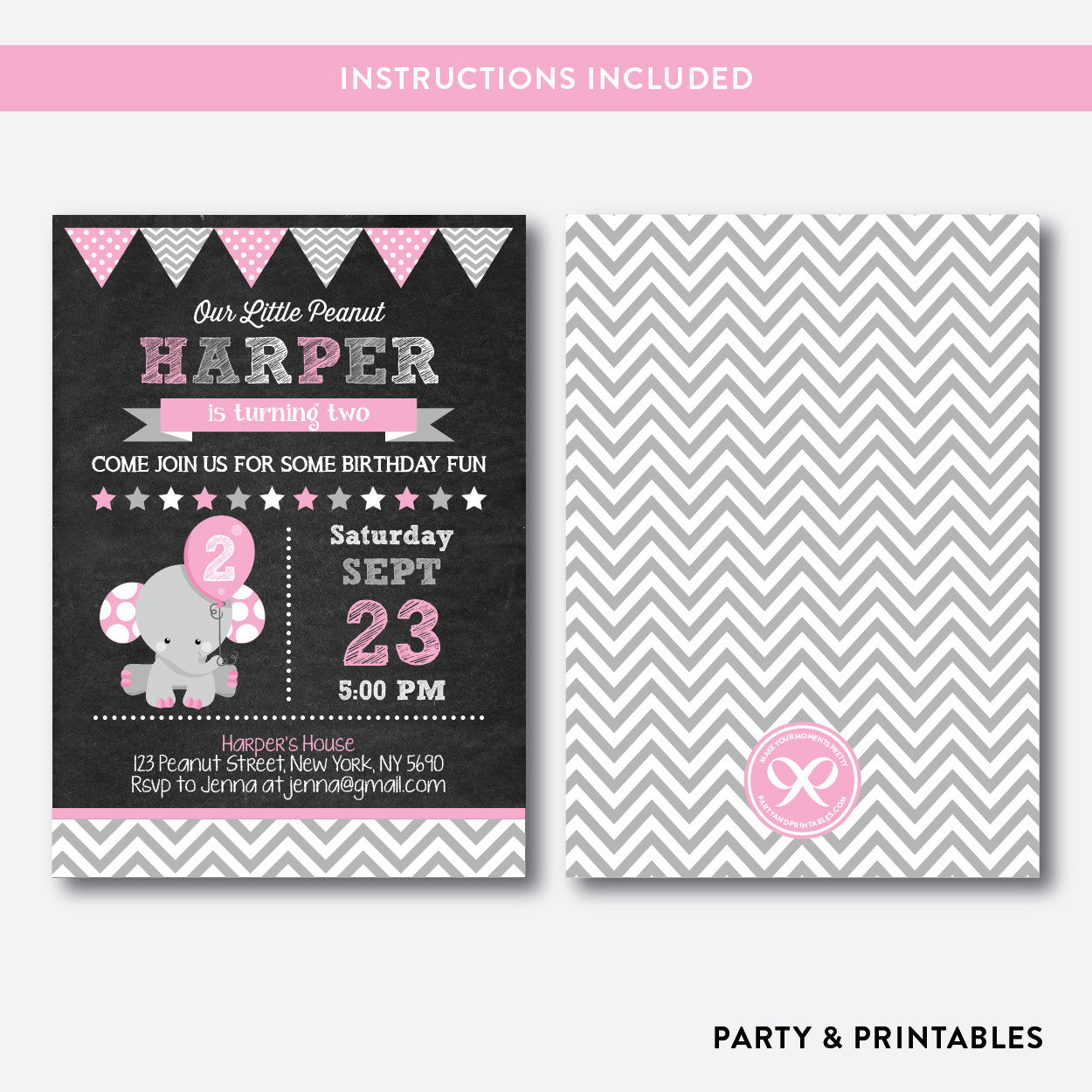 Elephant Chalkboard Kids Birthday Invitation / Editable / Instant Download (CKB.533), invitation - Party and Printables