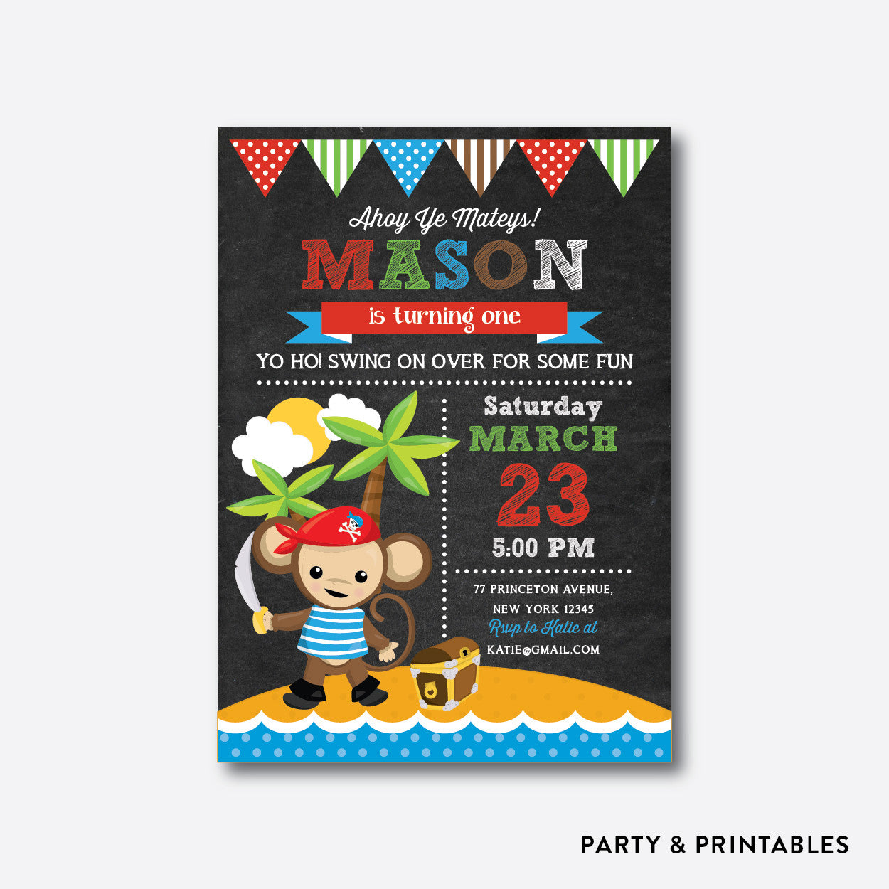 Monkey Pirate Chalkboard Kids Birthday Invitation / Personalized (CKB.536), invitation - Party and Printables