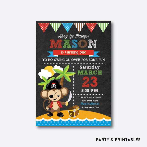Monkey Pirate Chalkboard Kids Birthday Invitation / Personalized (CKB.537), invitation - Party and Printables