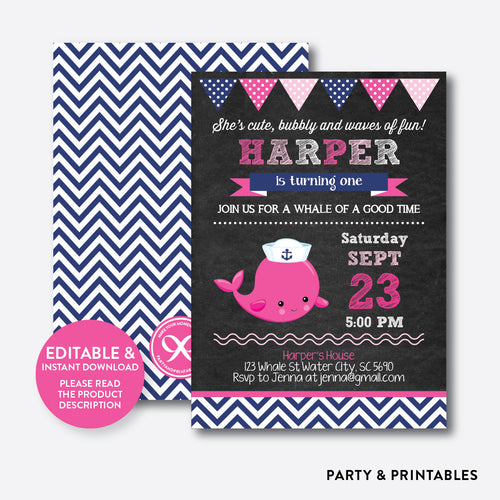 Whale Chalkboard Kids Birthday Invitation / Editable / Instant Download (CKB.538)