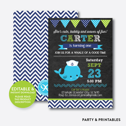 Whale Chalkboard Kids Birthday Invitation / Editable / Instant Download (CKB.539)