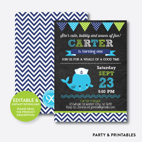 Whale Chalkboard Kids Birthday Invitation / Editable / Instant Download (CKB.539), invitation - Party and Printables