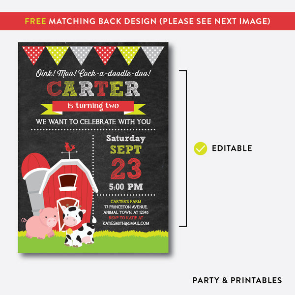 Barnyard Chalkboard Kids Birthday Invitation / Editable / Instant Download (CKB.53), invitation - Party and Printables