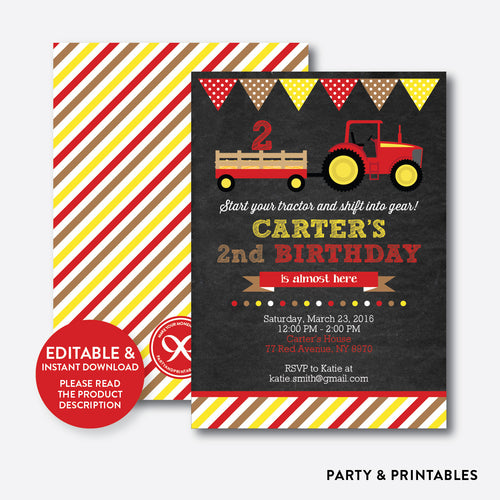 Red Tractor Chalkboard Kids Birthday Invitation / Editable / Instant Download (CKB.540)