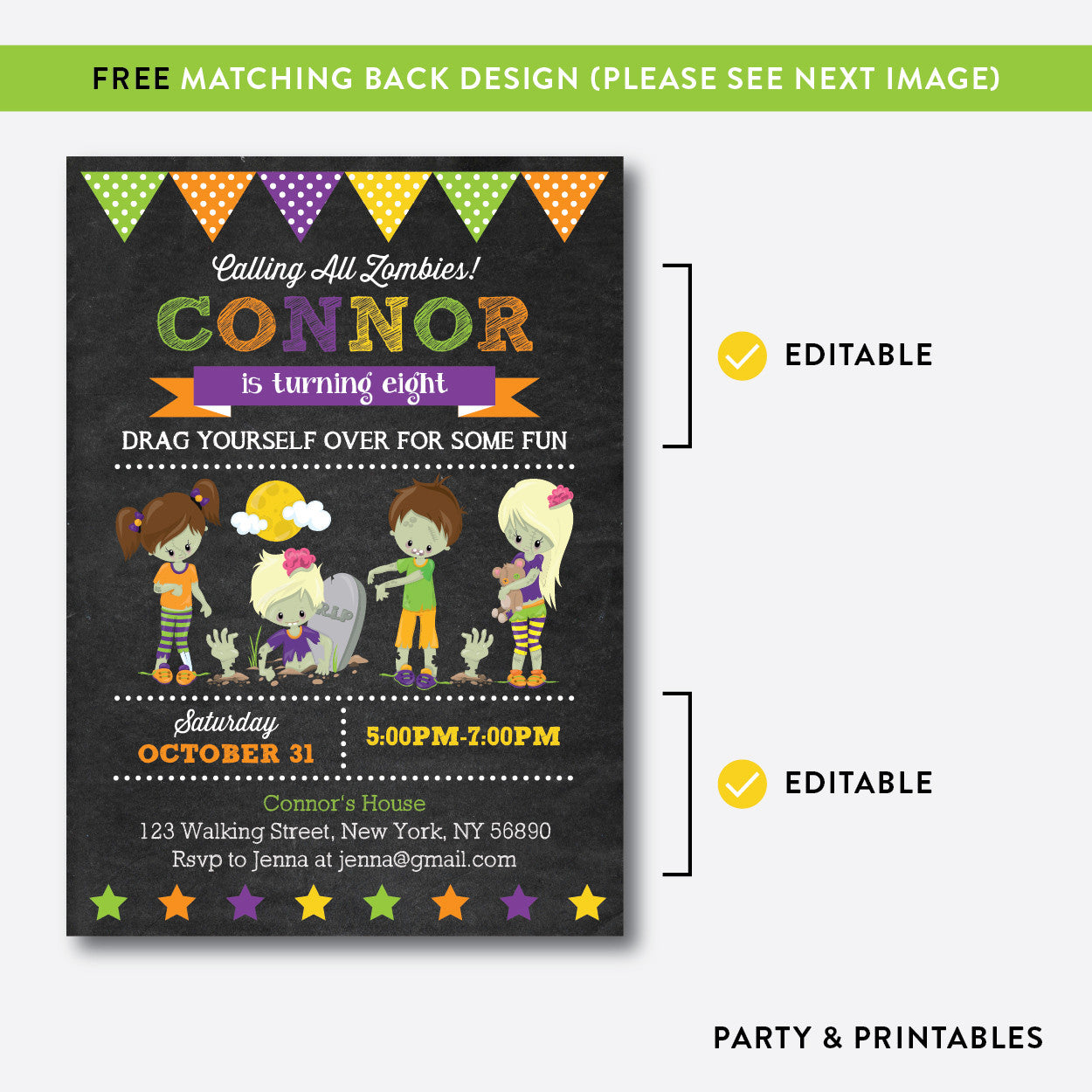 Zombies Chalkboard Kids Birthday Invitation / Editable / Instant Download (CKB.541), invitation - Party and Printables