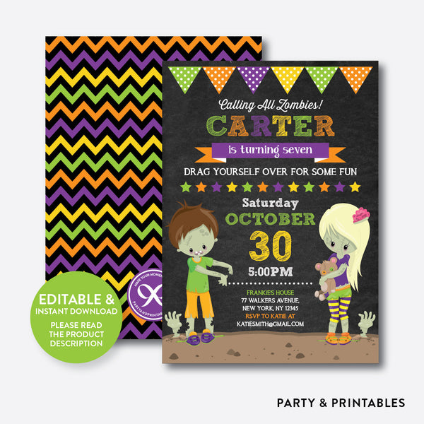 Zombies Kids Chalkboard Kids Birthday Invitation / Editable / Instant Download (CKB.542), invitation - Party and Printables