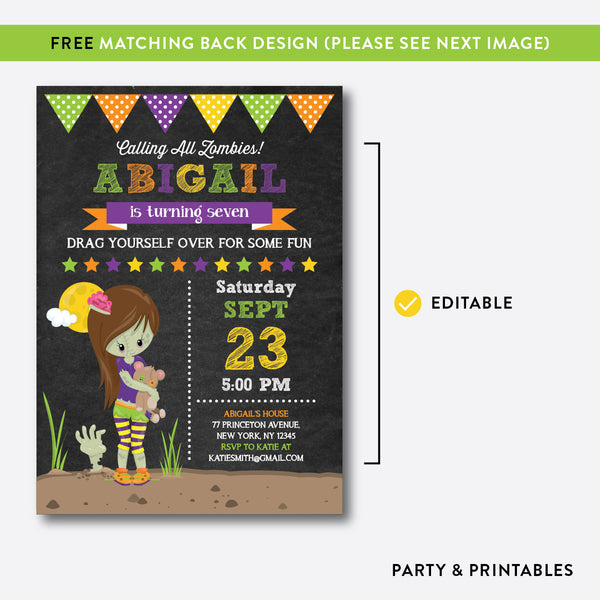 Zombie Chalkboard Kids Birthday Invitation / Editable / Instant Download (CKB.544), invitation - Party and Printables