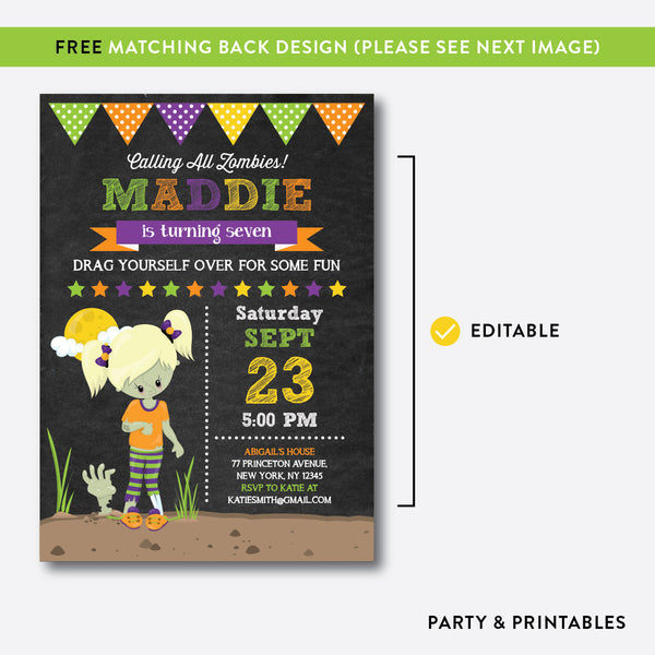 Zombie Chalkboard Kids Birthday Invitation / Editable / Instant Download (CKB.545B), invitation - Party and Printables
