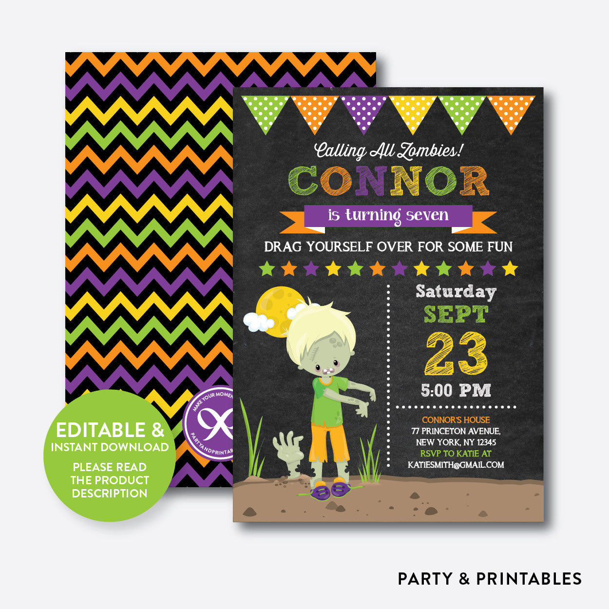 Zombie Chalkboard Kids Birthday Invitation / Editable / Instant Download (CKB.546B), invitation - Party and Printables