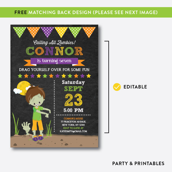 Zombie Chalkboard Kids Birthday Invitation / Editable / Instant Download (CKB.546), invitation - Party and Printables