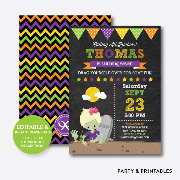 Zombie Chalkboard Kids Birthday Invitation / Editable / Instant Download (CKB.547B), invitation - Party and Printables