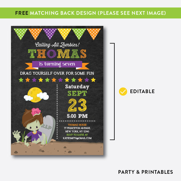 Zombie Chalkboard Kids Birthday Invitation / Editable / Instant Download (CKB.547), invitation - Party and Printables