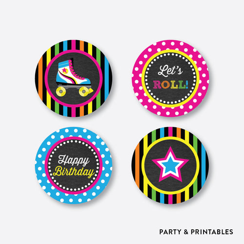 Roller Skate Chalkboard Cupcake Toppers / Non-Personalized / Instant Download (CKB.548)