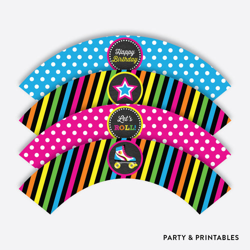 Roller Skate Chalkboard Cupcake Wrappers / Non-Personalized / Instant Download (CKB.548)