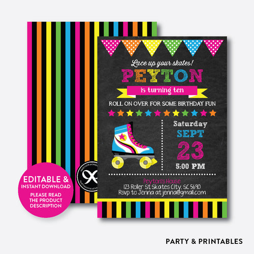 Roller Skate Pink Chalkboard Kids Birthday Invitation / Editable / Instant Download (CKB.548)