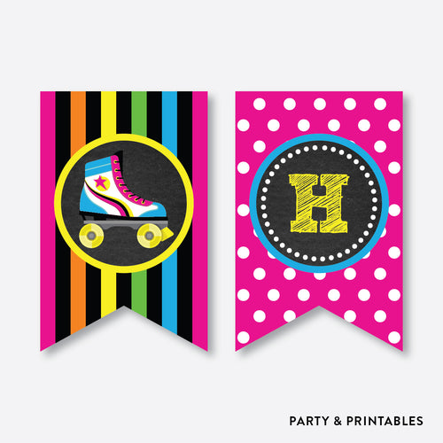 Roller Skate Chalkboard Party Banner / Happy Birthday Banner / Non-Personalized / Instant Download (CKB.548)