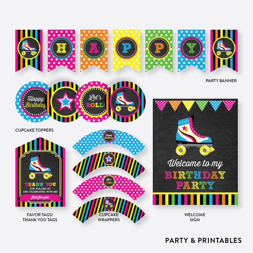 Roller Skate Chalkboard Standard Kids Birthday Party Package / Non-Personalized / Instant Download (CKB.548)