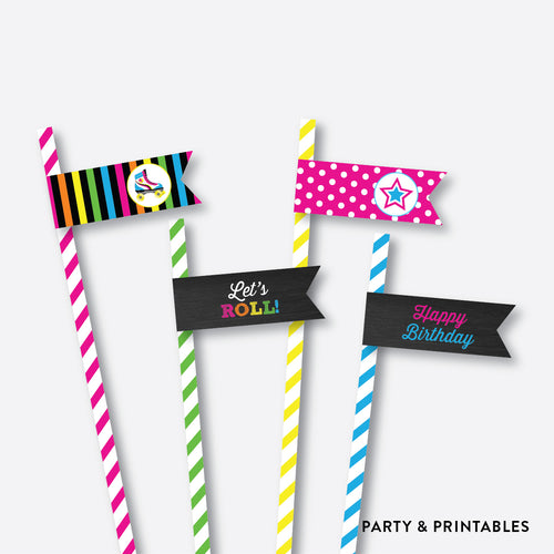 Roller Skate Chalkboard Straw Flags / Non-Personalized / Instant Download (CKB.548)