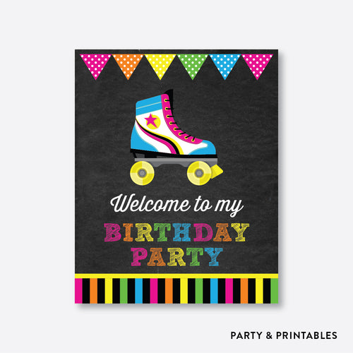 Roller Skate Chalkboard Welcome Sign / Non-Personalized / Instant Download (CKB.548)