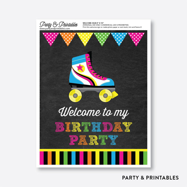 Roller Skate Chalkboard Welcome Sign / Non-Personalized / Instant Download (CKB.548), party printables - Party and Printables