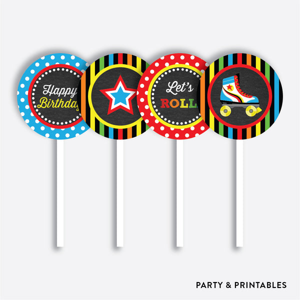Roller Skate Chalkboard Cupcake Toppers / Non-Personalized / Instant Download (CKB.549), party printables - Party and Printables