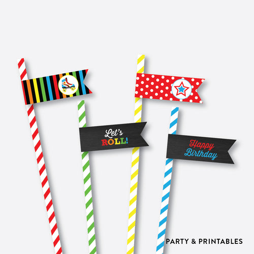 Roller Skate Chalkboard Straw Flags / Non-Personalized / Instant Download (CKB.549)