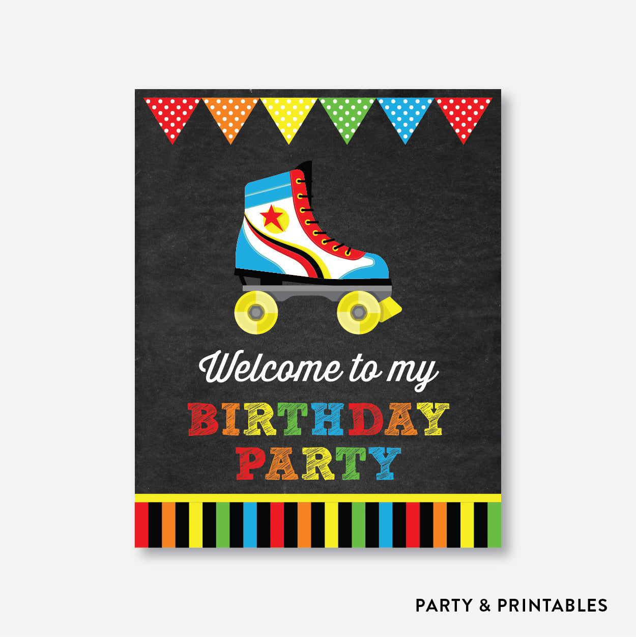 Roller Skate Chalkboard Welcome Sign / Non-Personalized / Instant Download (CKB.549), party printables - Party and Printables