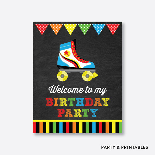 Roller Skate Chalkboard Welcome Sign / Non-Personalized / Instant Download (CKB.549)