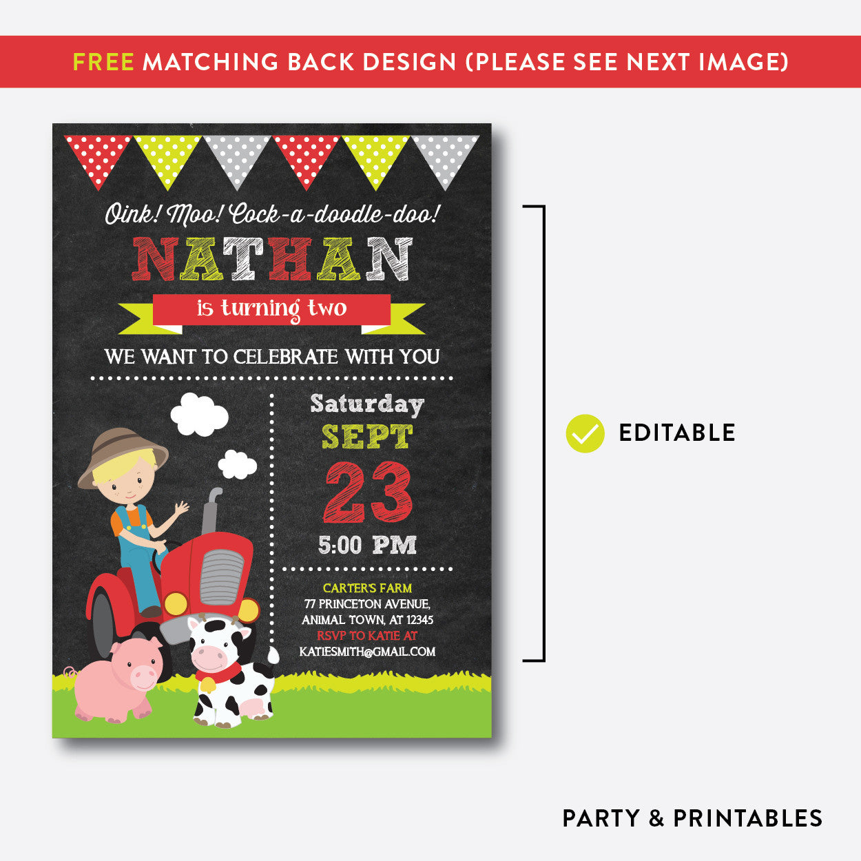 Farmer Chalkboard Kids Birthday Invitation / Editable / Instant Download (CKB.54B), invitation - Party and Printables