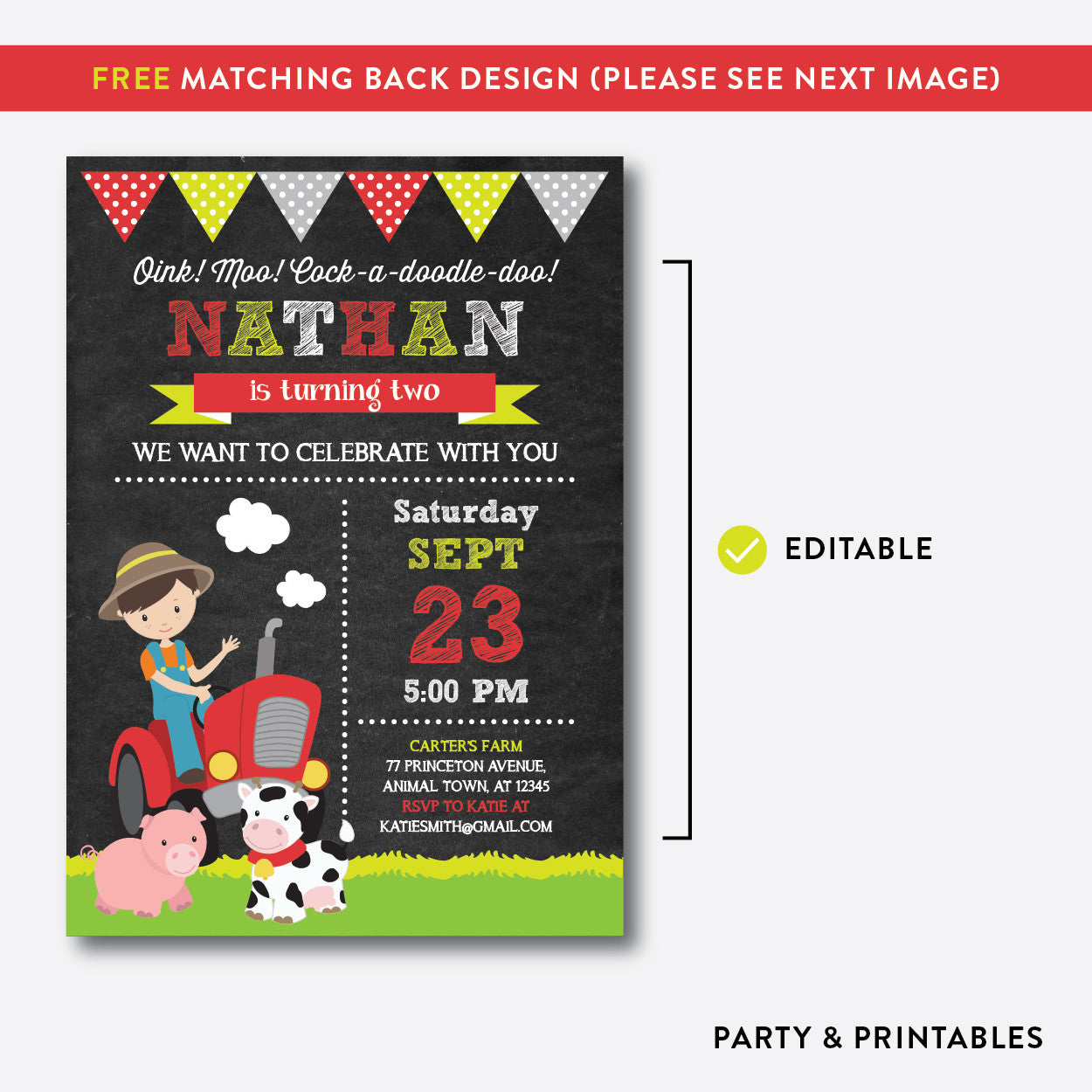 Farmer Chalkboard Kids Birthday Invitation / Editable / Instant Download (CKB.54), invitation - Party and Printables