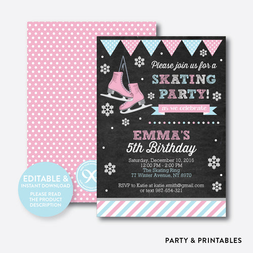 Ice Skating Pink Chalkboard Kids Birthday Invitation / Editable / Instant Download (CKB.550)