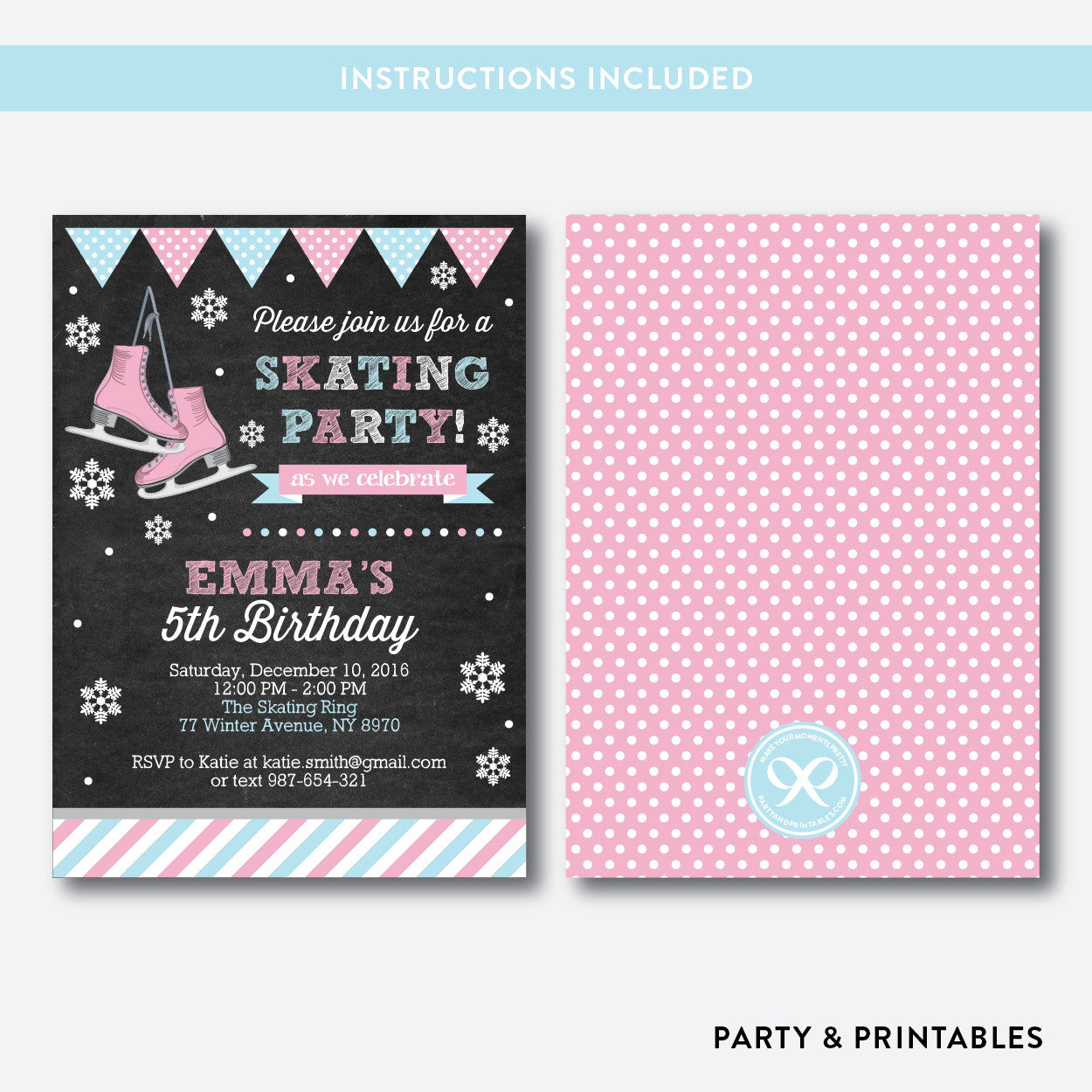 Ice Skating Chalkboard Kids Birthday Invitation / Editable / Instant Download (CKB.550), invitation - Party and Printables