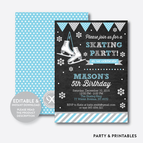 Ice Skating Blue Chalkboard Kids Birthday Invitation / Editable / Instant Download (CKB.551)