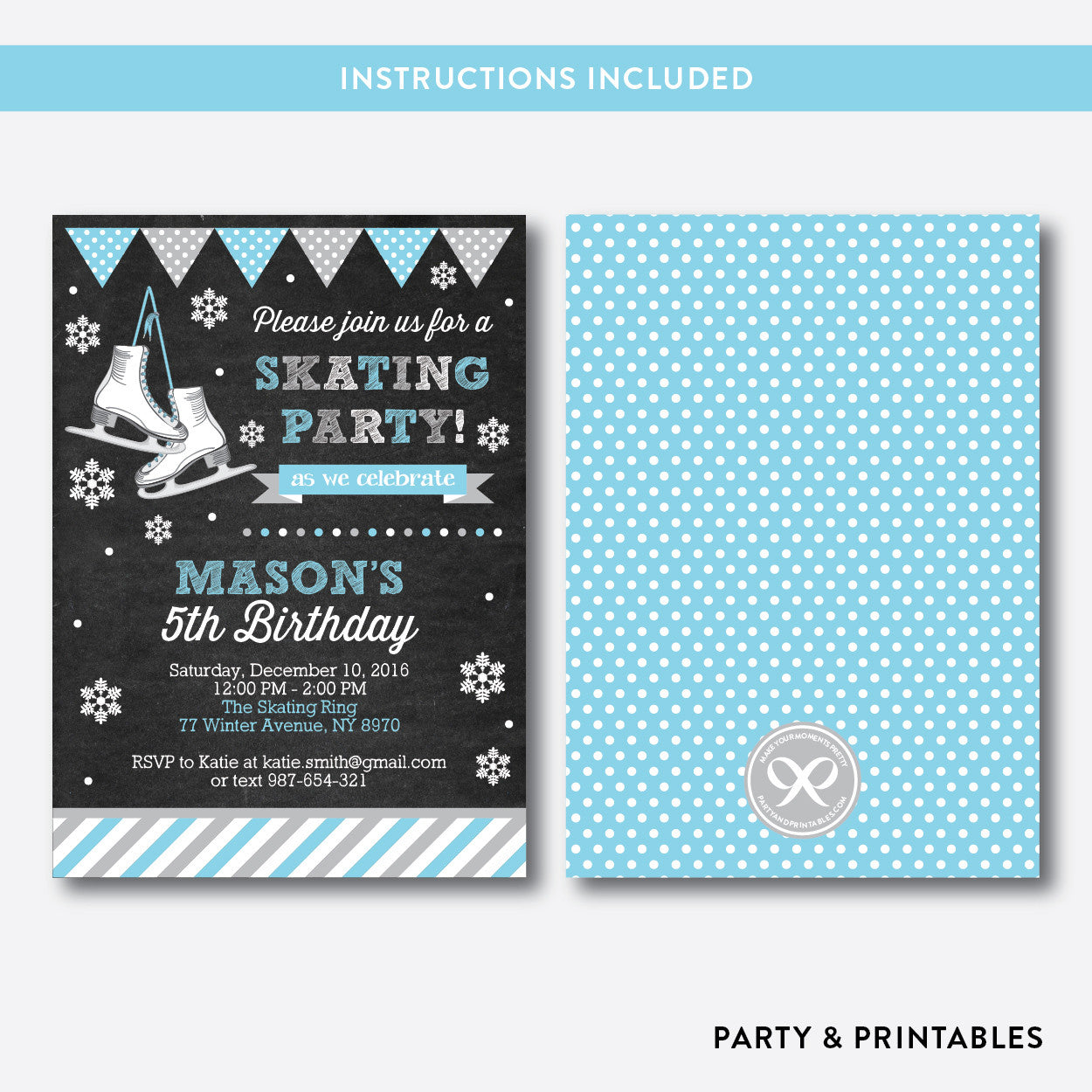 Ice Skating Chalkboard Kids Birthday Invitation / Editable / Instant Download (CKB.551), invitation - Party and Printables