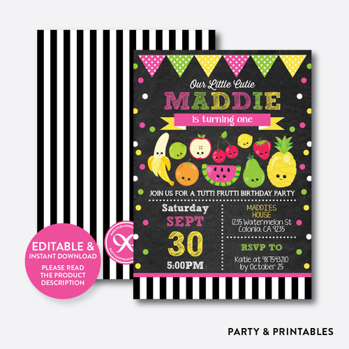 Tutti Frutti Chalkboard Kids Birthday Invitation / Editable / Instant Download (CKB.552)