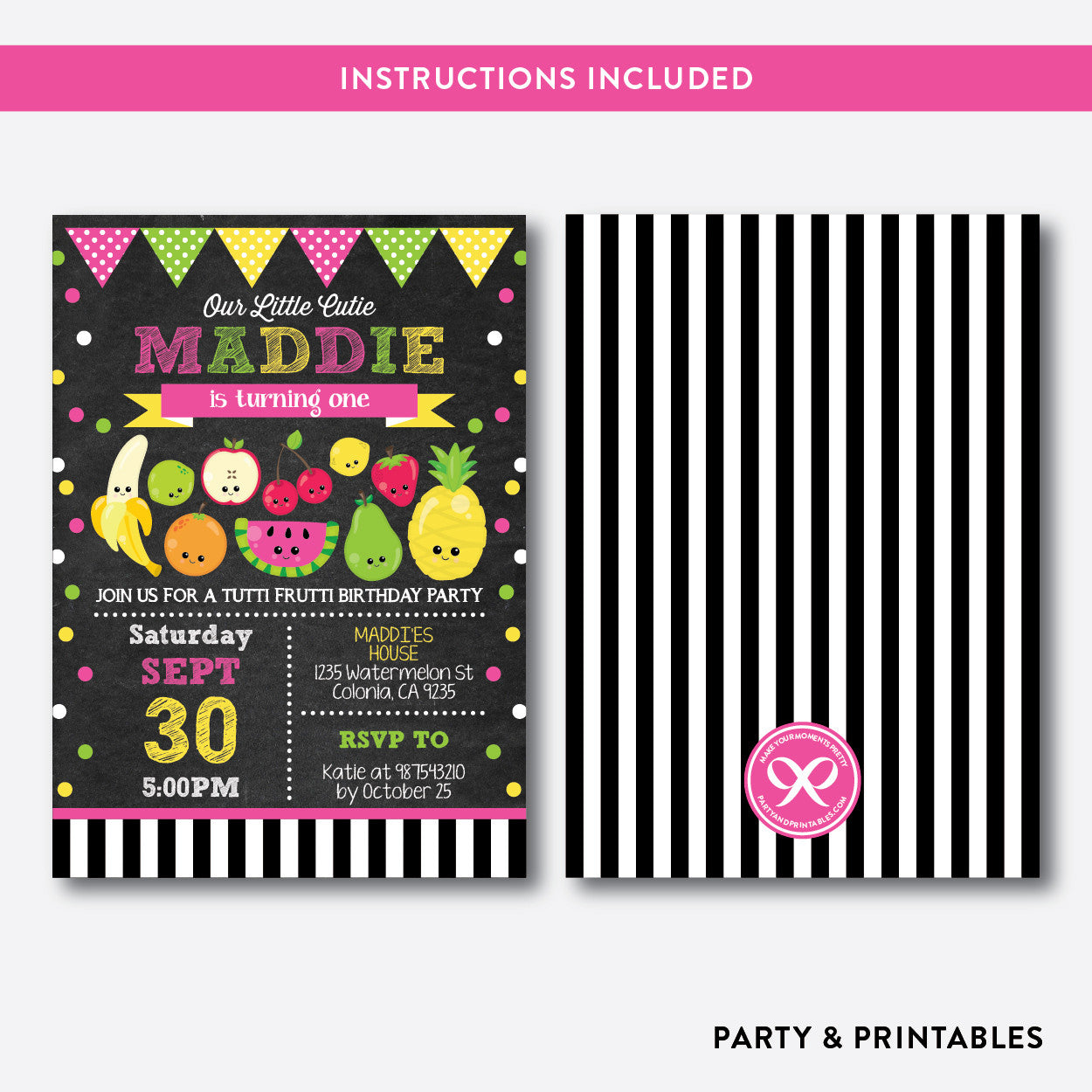 Tutti Frutti Chalkboard Kids Birthday Invitation Editable Instant Party And Printables