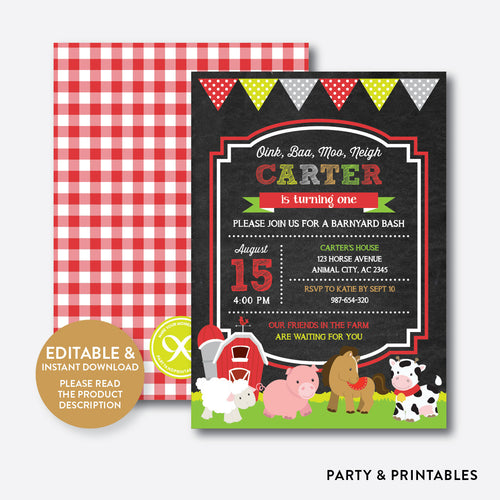 Farm Friends Chalkboard Kids Birthday Invitation / Editable / Instant Download (CKB.55B)