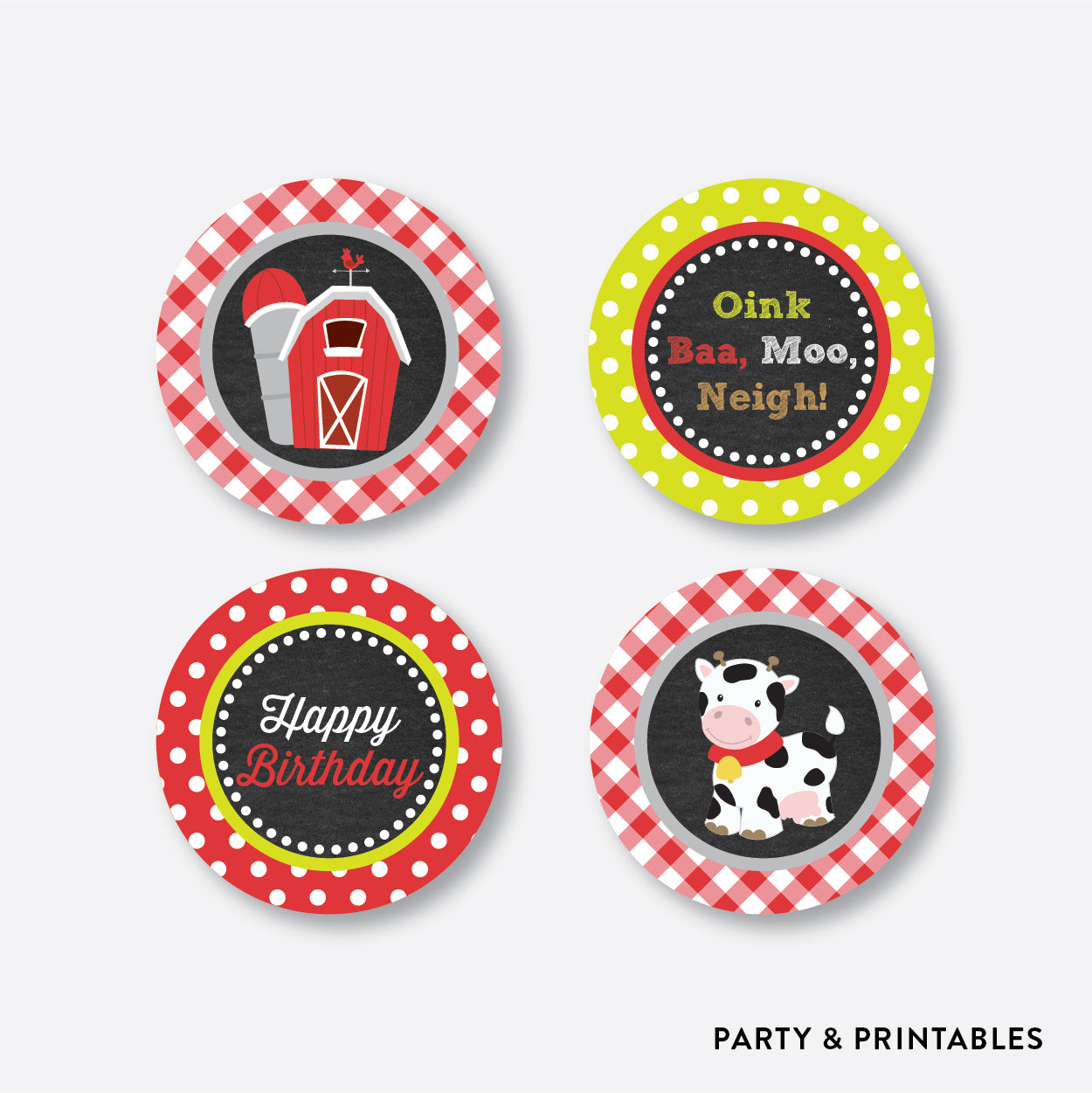 Farm Friends Chalkboard Cupcake Toppers / Non-Personalized / Instant Download (CKB.55), party printables - Party and Printables