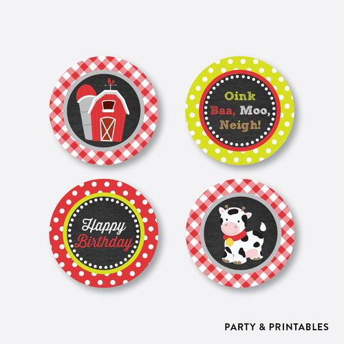 Farm Friends Chalkboard Cupcake Toppers / Non-Personalized / Instant Download (CKB.55)